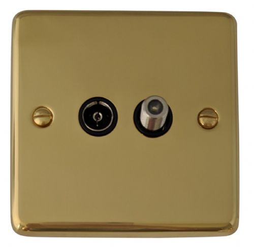 G&H CB38B Standard Plate Polished Brass 1 Gang TV Coax & Satellite Socket Point